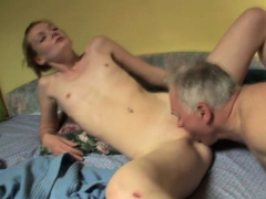Teen Girl Gets Her Hirsute Pussy Team-fucked By Old Dude