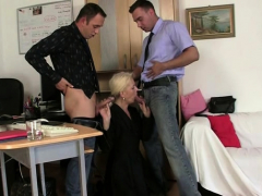 Hairy Blonde Granny Spreads Legs For Two Men