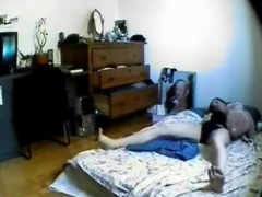 Hidden cam catches my sister masturbating in her room