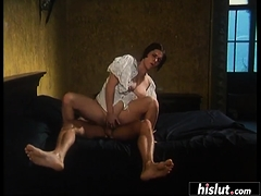 One on one action with a cock loving brunette