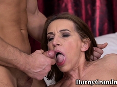 Mature lady mouth spermed