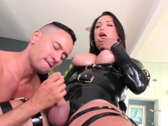Latin tgirl Bianka Nascimento dominates guy n barebacks him