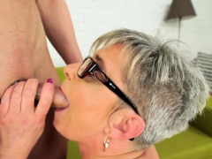 Feet licked old woman
