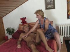 older blonde mother inlaw helps horny man sperm
