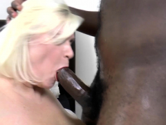 Brit gran gives footjob to black shlong