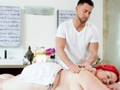 massaged massive beauty gets slick in oil