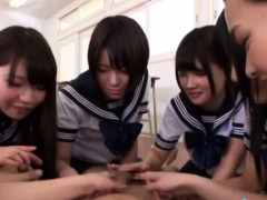 Aroused japanese discloses muff for the pov sex