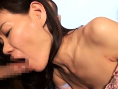Charming lovely babe gives oral job