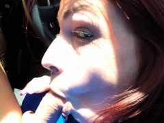 German Skinny Redhead Teen Blowjob In Public While Driving