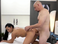 OLD4K. Bald dad is happy to see charming brunette Anne Rose
