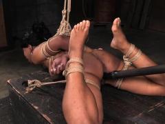 Gagged ebony sub spanked before pussytoyed