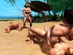 threesome-3d-gay-porn-at-the-beach