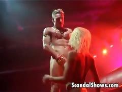 Blonde Striper Enjoys Sucking A Cock