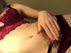 red lingerie and fishnets cum