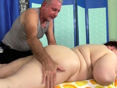 Fat Mommy Stazi Oiled Up and Rubbed Down