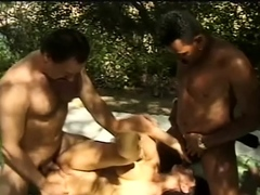 Threesome Outdoors With Horny Hot Wife Making Sex