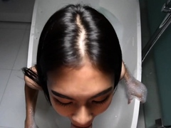 Ladyboy Pepper Gives Blowjob During Taking Bath