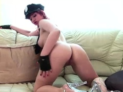 Redhead Policewoman Maggie Solo Finger Banging