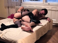 Stockings mistress strapon slams fetish ass and tugs dick
