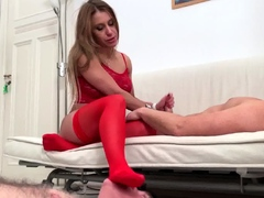 cuckold grandpa can only lick her feet while she get fucked