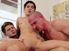 Two bisexual dudes with bisexual lady fucking