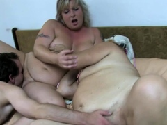 slut and grandma humping with a dildo