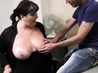 Fat secretary gives head and gets fucked in office