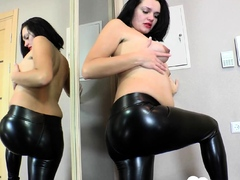 Prego beauty trying out some latex pants