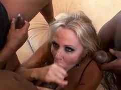 PAWG gets bukkake after handling three black cocks