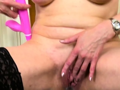 oldnannny czech blonde mature playing on a chair