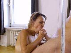 MATURE4K. Blonde mature has pussy filled with mans cock