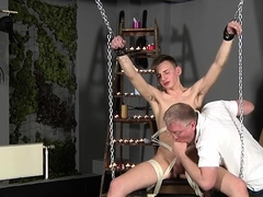 Hot gay stays while being treated hard in bdsm sex