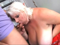 Fat blonde fucked after casting