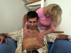 Old blonde granny sucks and rides his huge dick