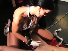 Stupendous woman blows sausage and bounces it