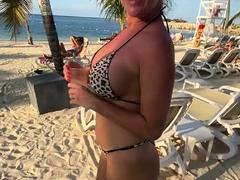 Beautiful amateur blonde barmaid paid sex in public