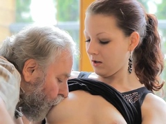 Petite Young Sweetie Gets Her Pussy Slammed By Grand-dad
